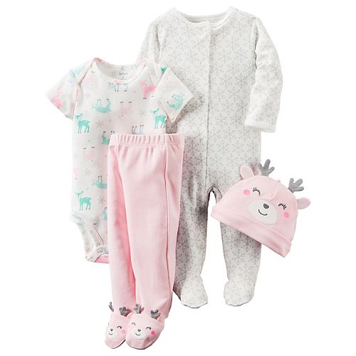 2e0fb903d Baby Girl Carter s 4-pc. Deer Bodysuit