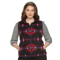 Plus Size Chaps Southwestern Fleece Vest