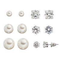 Mudd® Cubic Zirconia & Simulated Pearl Stud Earring Set