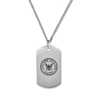 Men's Sterling Silver United States Navy Dog Tag Necklace