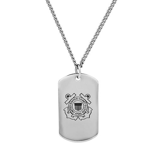 Men's Sterling Silver United States Coast Guard Dog Tag Necklace