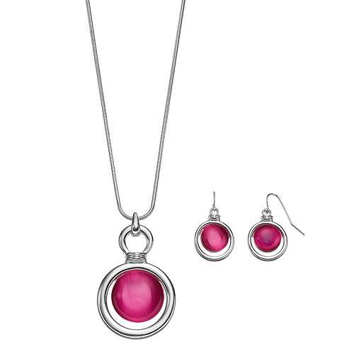 Pink Orbital Pendant Necklace & Drop Earring Set