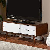 Baxton Studio Armani Two-Tone Sliding Door TV Cabinet