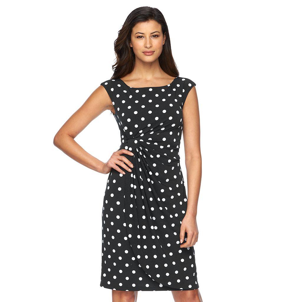 Women's Connected Apparel Dot Faux-Wrap Dress
