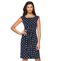 Women's Connected Apparel Dot Faux-Wrap Dress