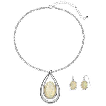 Teardrop Pendant Necklace & Oval Drop Earring Set