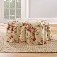 Sure Fit Waverly Ballad Bouquet 2 pc Ottoman Slipcover