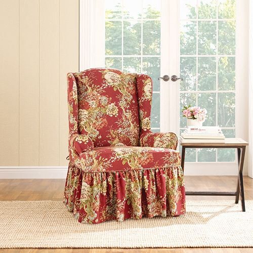 Fine Sure Fit Waverly Ballad Bouquet Wing Chair Slipcover Gmtry Best Dining Table And Chair Ideas Images Gmtryco