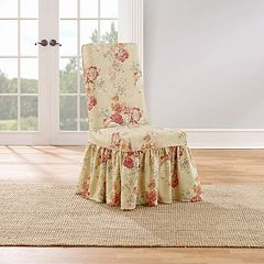 Sure Fit Waverly Ballad Bouquet Long Dining Room Chair Slipcover