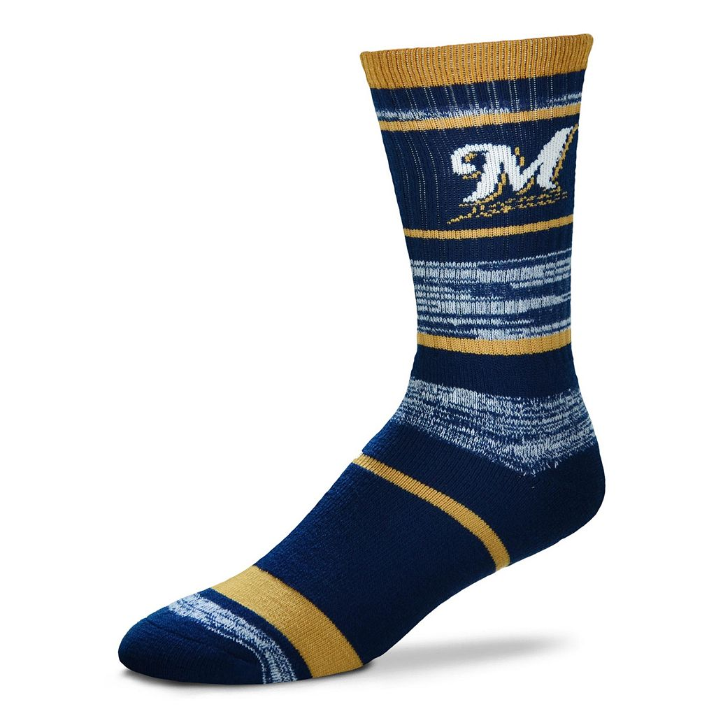 Adult For Bare Feet Milwaukee Brewers RMC Stripe Crew Socks
