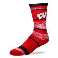Adult For Bare Feet Wisconsin Badgers RMC Stripe Crew Socks
