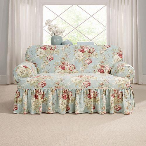 Sure Fit Waverly Ballad Bouquet T-Loveseat Slipcover