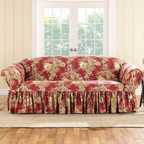 Astounding Sure Fit Waverly Ballad Bouquet Sofa Slipcover Machost Co Dining Chair Design Ideas Machostcouk