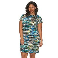 Plus Size Suite 7 Watercolor Striped Shift Dress