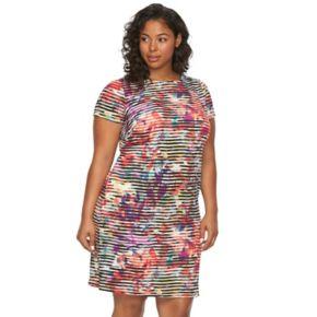 Plus Size Suite 7 Watercolor Striped Shift Dress