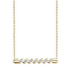Sirena Collection 14k Gold 1/4 Carat T.W. Certified Diamond Zigzag Necklace