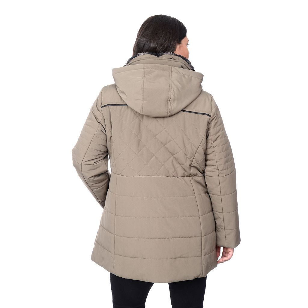 Plus Size Croft & Barrow® Faux-Fur Collar Quilted Stadium Jacket