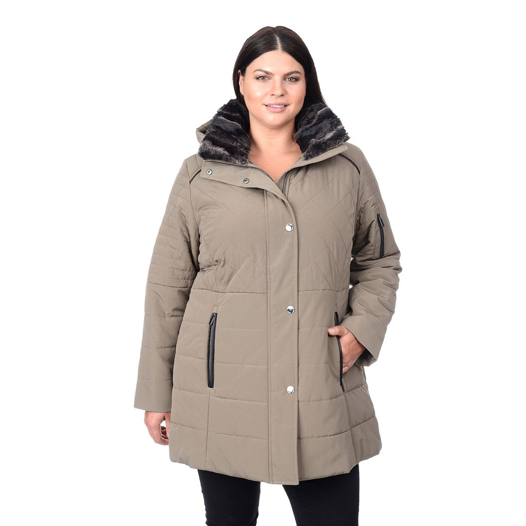 Plus Size Croft & Barrow¨ Faux-Fur Collar Quilted Stadium Jacket