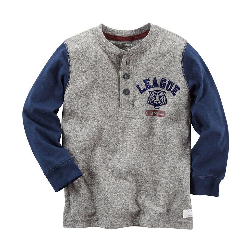 Boys 4-8 Carter's Colorblock League Tiger Champion Long Sleeve Henley Tee