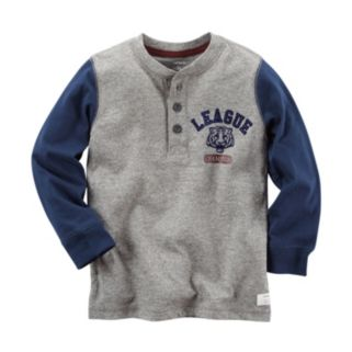Boys 4-8 Carter's Colorblock League Tiger Champion Long Sleeve Henley Tee