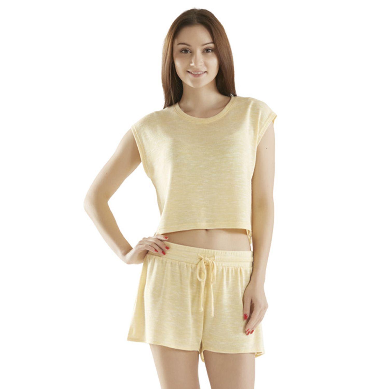 Womens INK+IVY Pajamas: Space-Dye Tee & Shorts Pajama Set