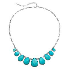 Mudd® Graduated Teardrop Cabochon Necklace