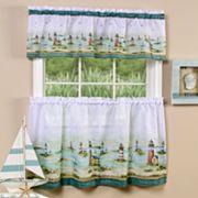 Hampton Lighthouse 3 pc Tier & Valance Kitchen Window Curtain Set