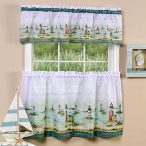 Hampton Lighthouse 3-piece Tier & Valance Kitchen Window Curtain Set