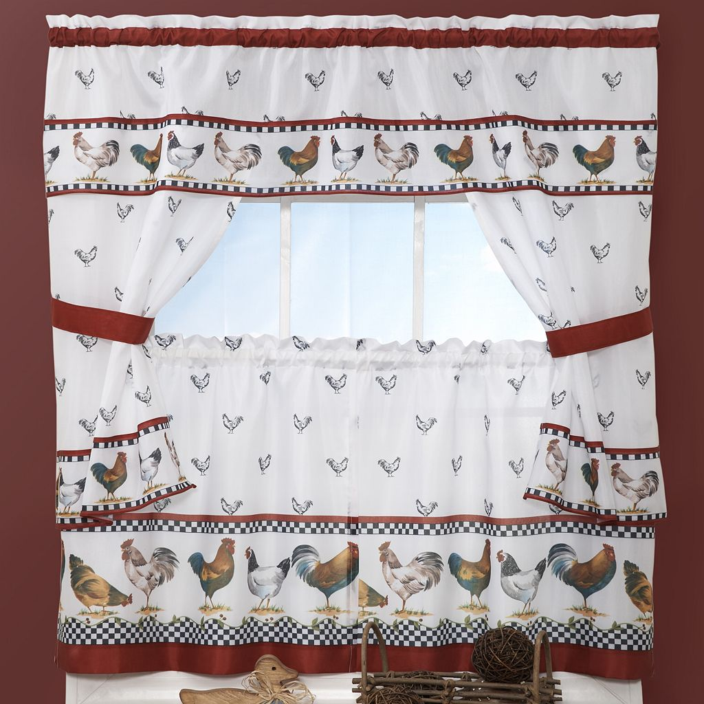 Top of the Morning Rooster 5-pc. Cottage Kitchen Curtain Tier & Swag Set