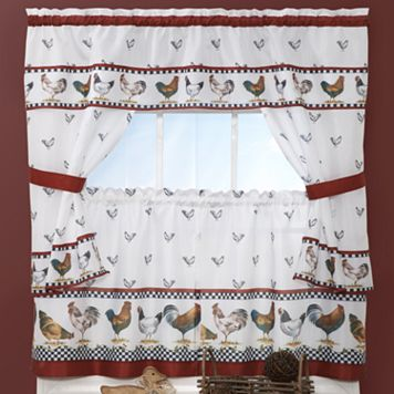 Top of the Morning Rooster 5-piece Cottage Tier Swag Kitchen Window Curtain Set