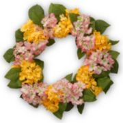 "National Tree Company 24"" Artificial Yellow and Pink Hydrangea Wreath"