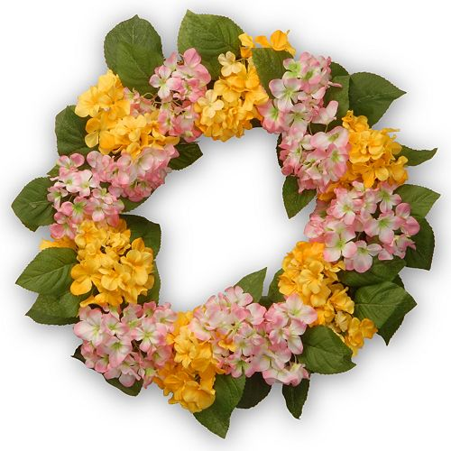 """National Tree Company 24"""" Artificial Yellow and Pink Hydrangea Wreath"""