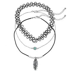 Mudd® Feather Pendant, Cabochon & Tattoo Choker Necklace Set