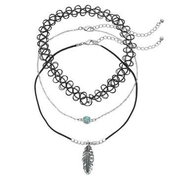 Mudd® Feather Pendant, Cabochon & Tattoo Choker Necklace Set