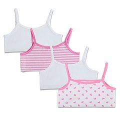 Girls Fruit of the Loom 4-pk. Reversible Crop Bras