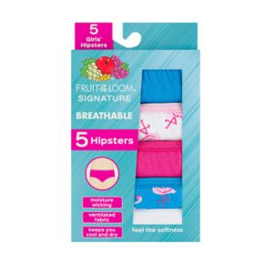 Girls 6-16 Fruit of the Loom 5-pk. Breathable Hipster Panties