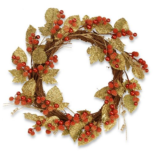 "National Tree Company 24"" Artificial Berry & Leaf Vine Wreath"