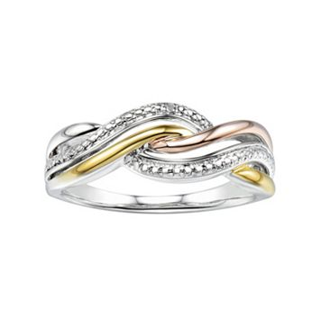Two Hearts Forever OneTri-Tone Sterling Silver Twist Ring