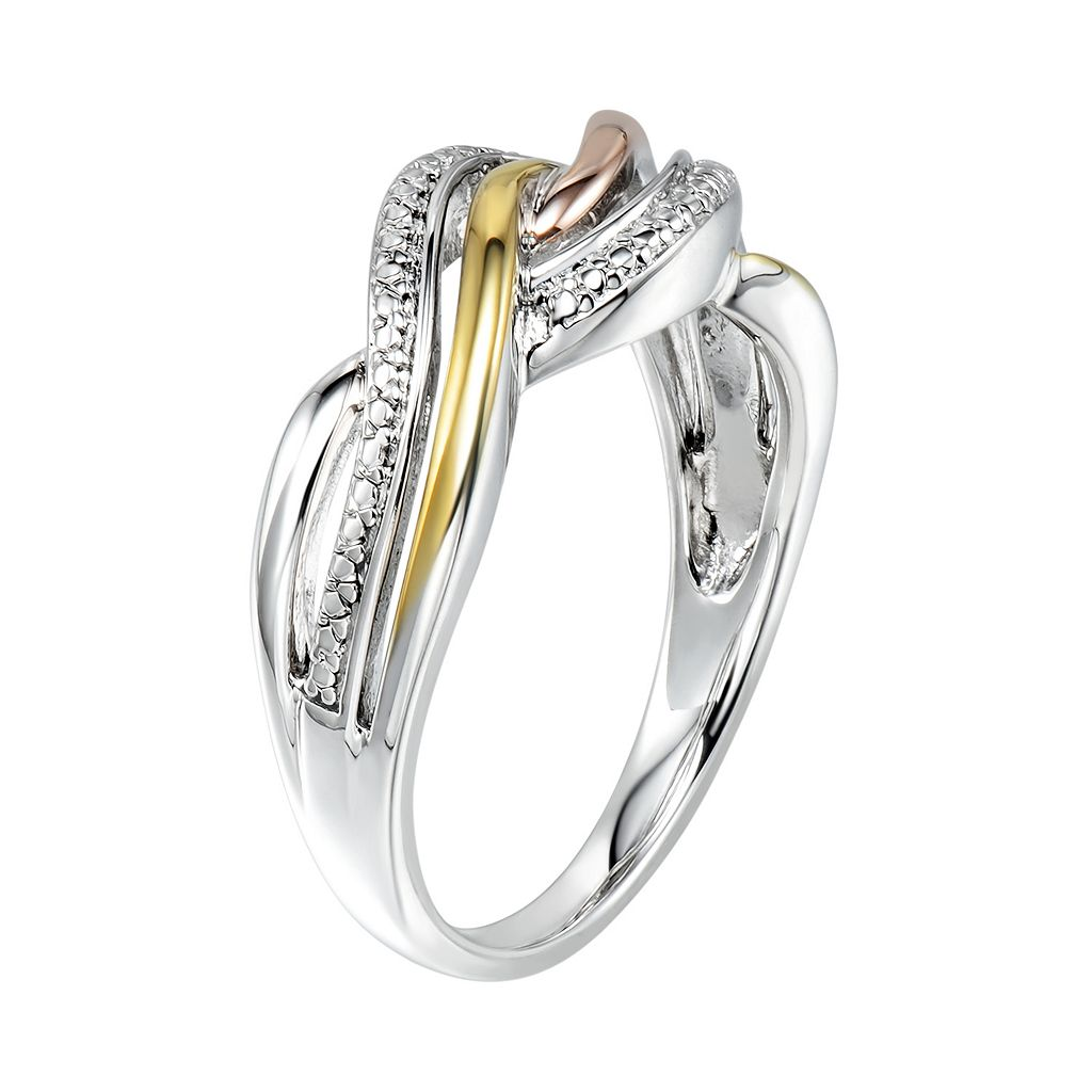 Two Hearts Forever One Tri-Tone Sterling Silver Twist Ring