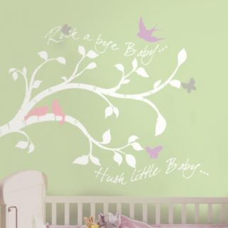 """Rock-a-Bye Baby"" Bird Branch Peel & Stick Giant Wall Decals"