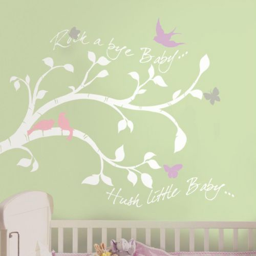 Rock-a-Bye Baby Bird Branch Peel & Stick Giant Wall Decals