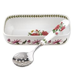 Portmeirion Botanic Garden 2 pc Cranberry Dish & Spoon Set