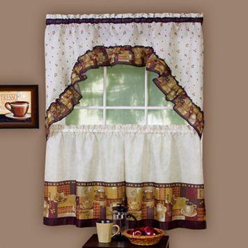 Coffee 3-pc. Swag Tier Kitchen Curtain Set