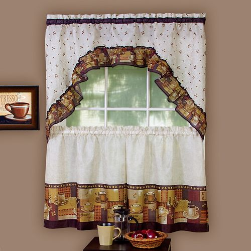 Coffee 3-pc. Swag Tier Kitchen Curtain Set