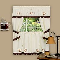 Cuppa Joe 5 pc Swag Tier Cottage Kitchen Window Curtain Set
