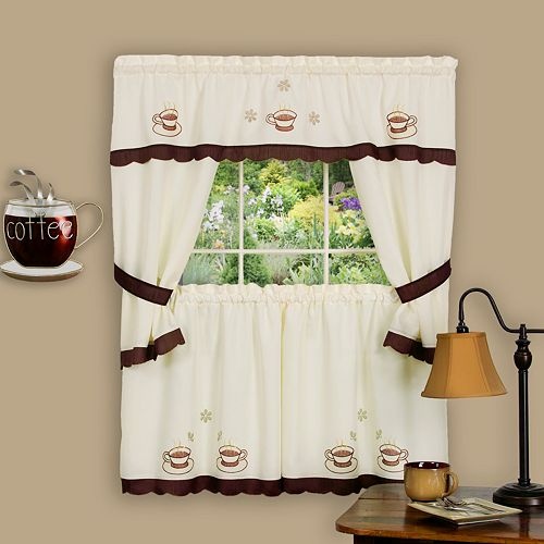 Cuppa Joe 5-piece Swag Tier Cottage Kitchen Window Curtain Set