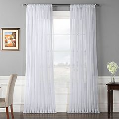 EFF 1-Panel Solid Sheer Voile Double-Wide Window Curtain