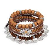 Mudd® Wood Bead Stretch & Slipknot Bracelet Set