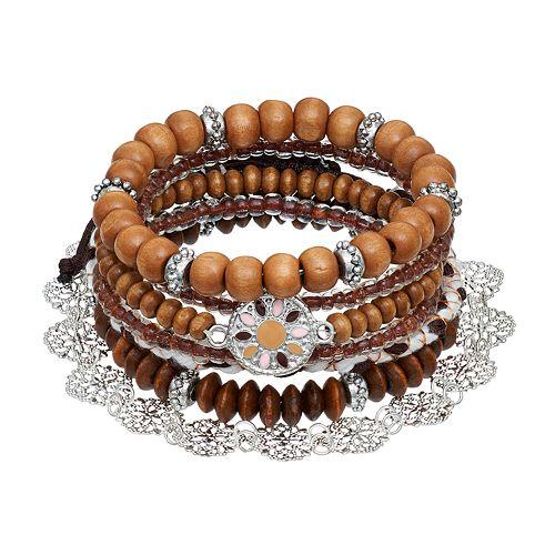 Mudd® Wood Bead Stretch & Slipknot Bracelet Set