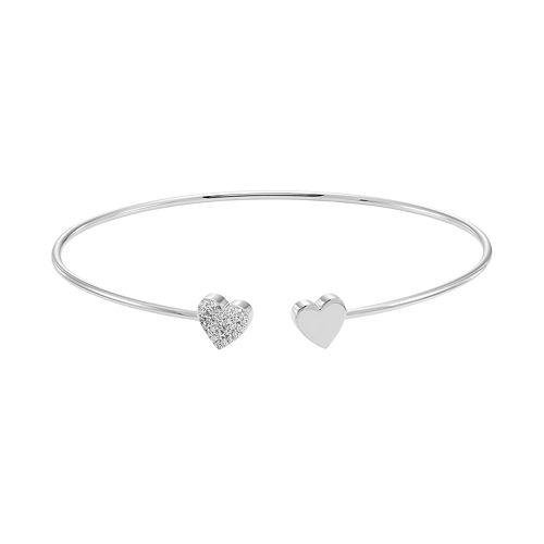 Sterling Silver 1/10 Carat T.W. Diamond Heart Cuff Bracelet
